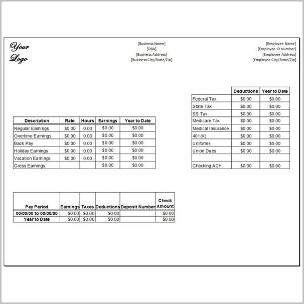 Pay Stub Template For Small Business