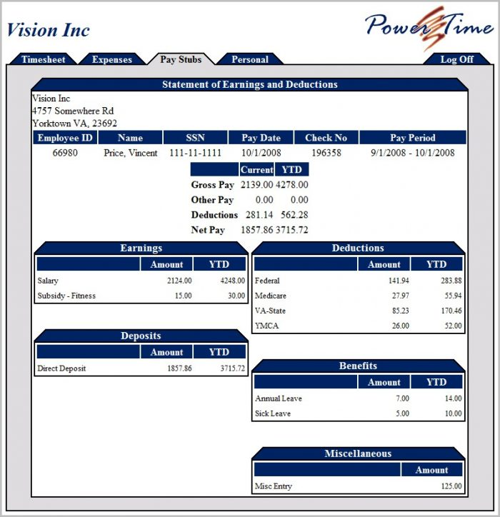 Pay Stub Template Online