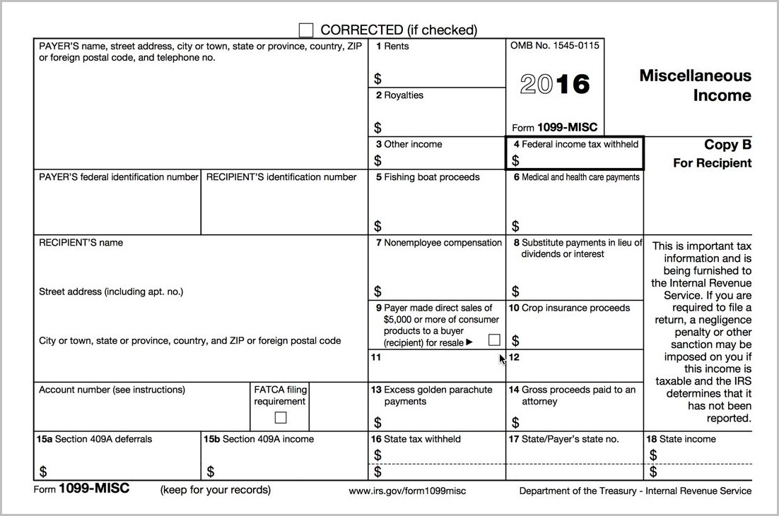 Printable 1099 Form For 2015