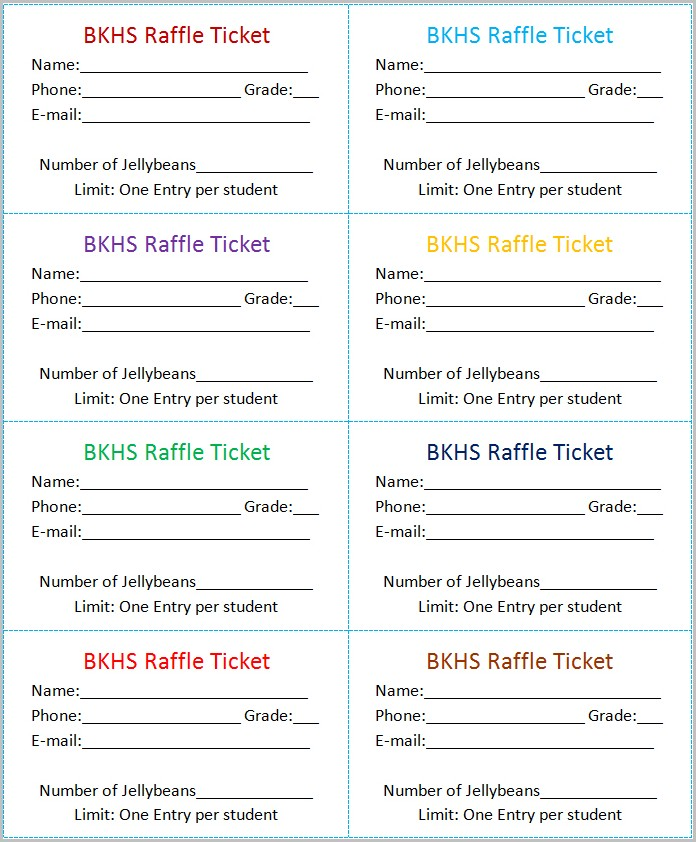 Printable Raffle Ticket Template Microsoft