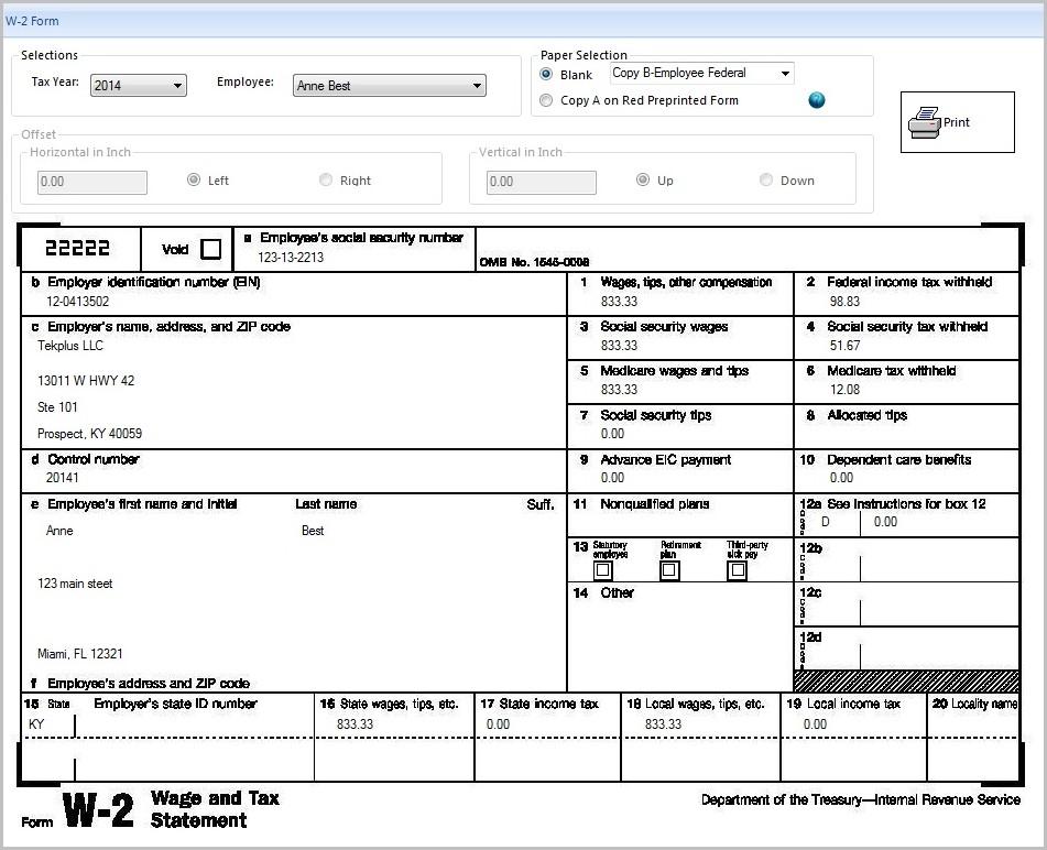 Printable W2 Form 2016