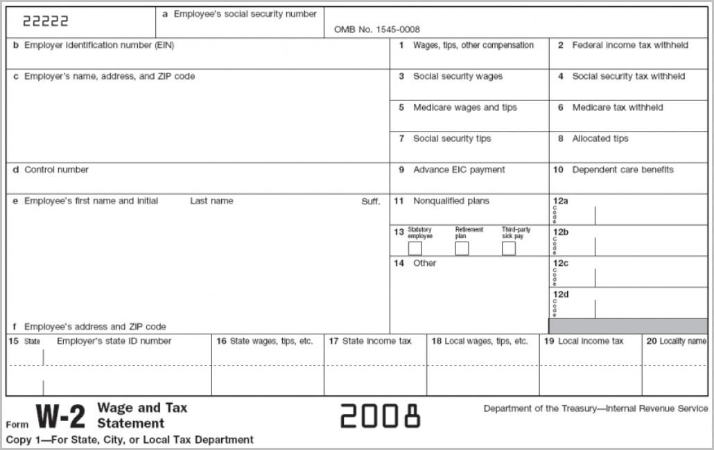 Printable W2 Form