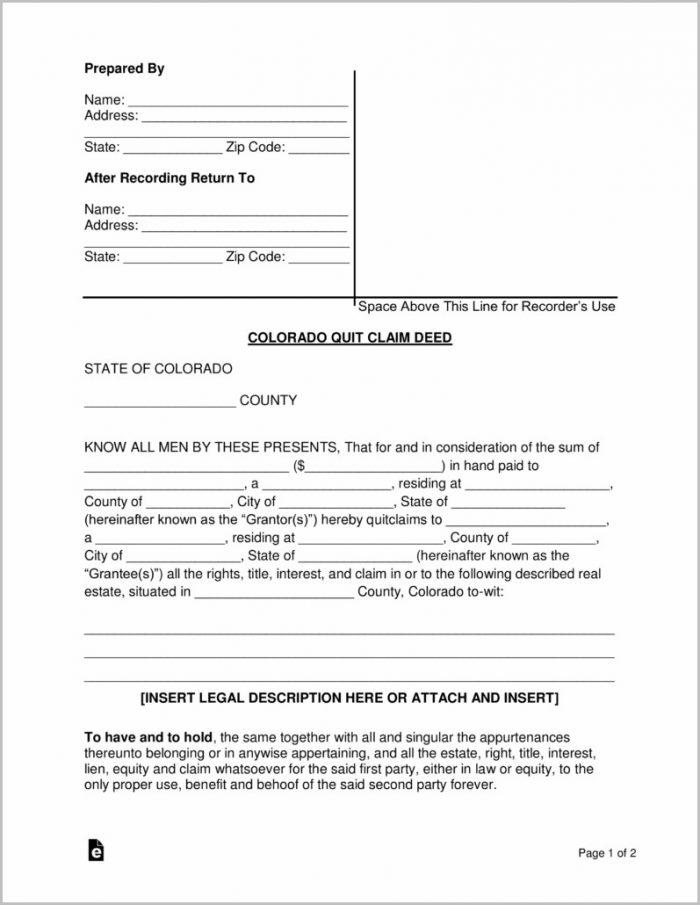 Quick Claim Deed Form Colorado