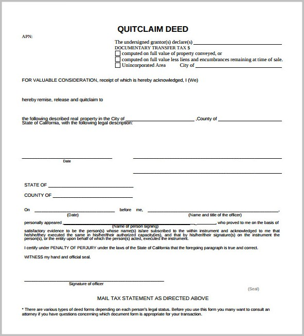 Quick Claim Deed Form Florida