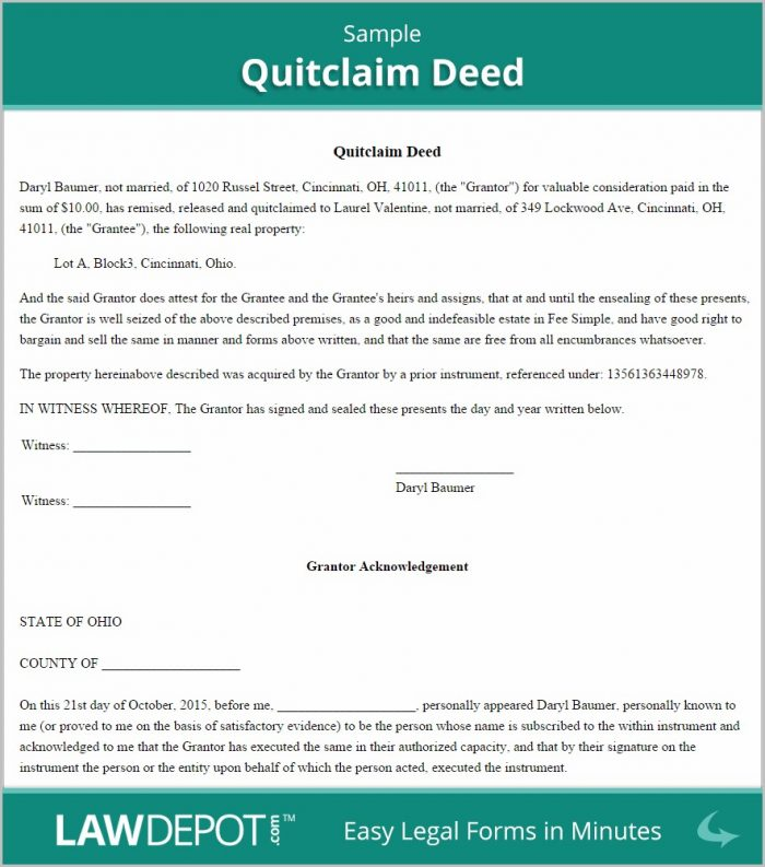 Quick Claim Deed Form Free