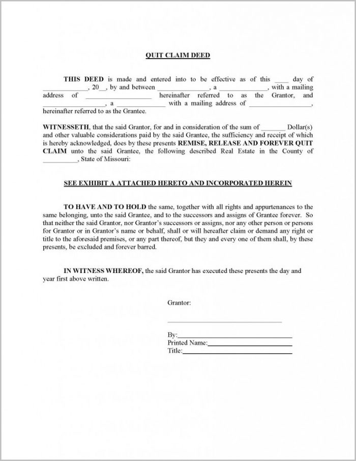 Quick Claim Deed Form Missouri
