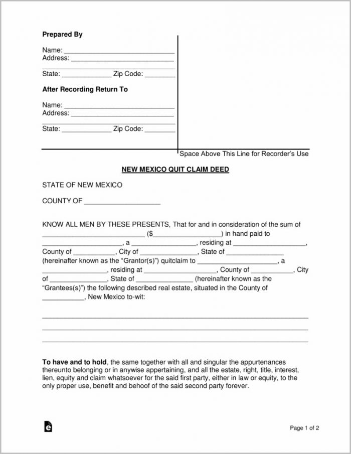 Quit Claim Deed Form New Mexico