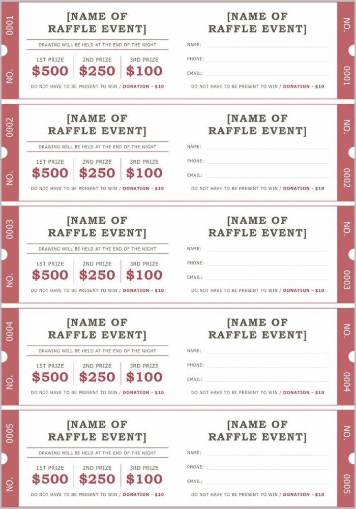 Raffle Ticket Samples Templates Free
