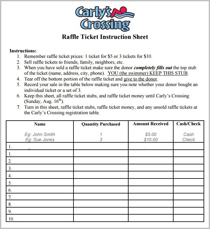 Raffle Ticket Sheet Template
