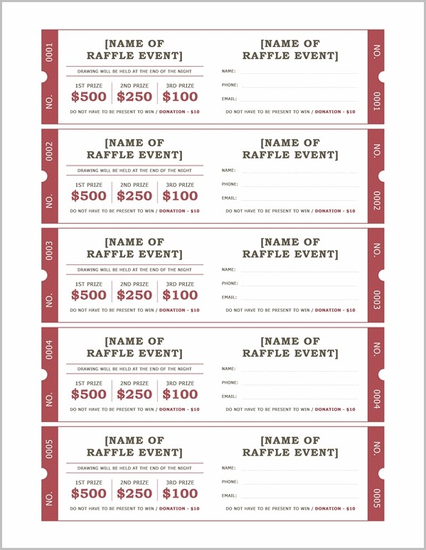 Free Templates For Raffle Tickets Unique Avery Event Ticket Within Template