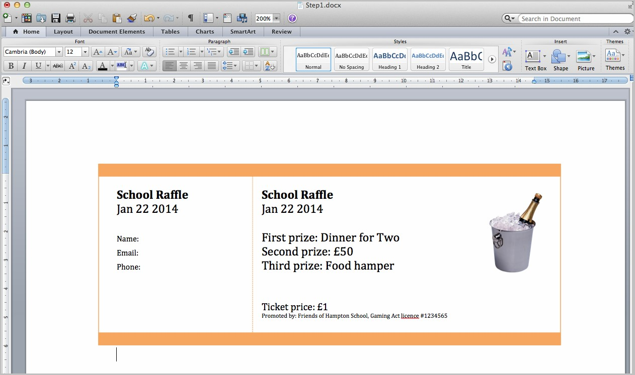 Raffle Ticket Template For Mac Pages