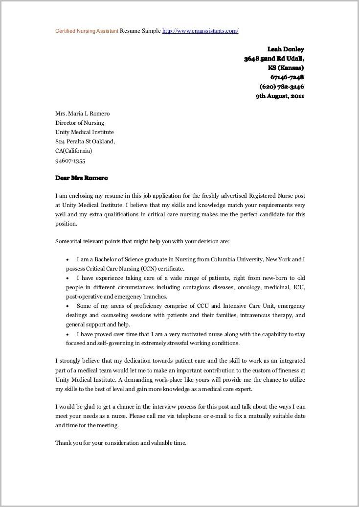 Resume Cover Letter Samples Nursing Assistant