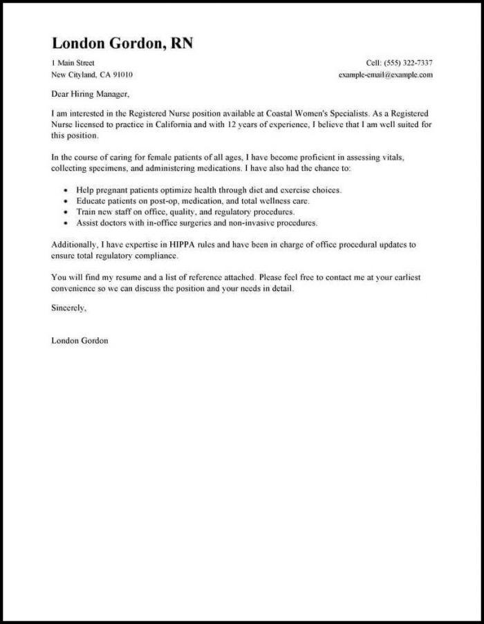 Resume Cover Letter Template For Nursing