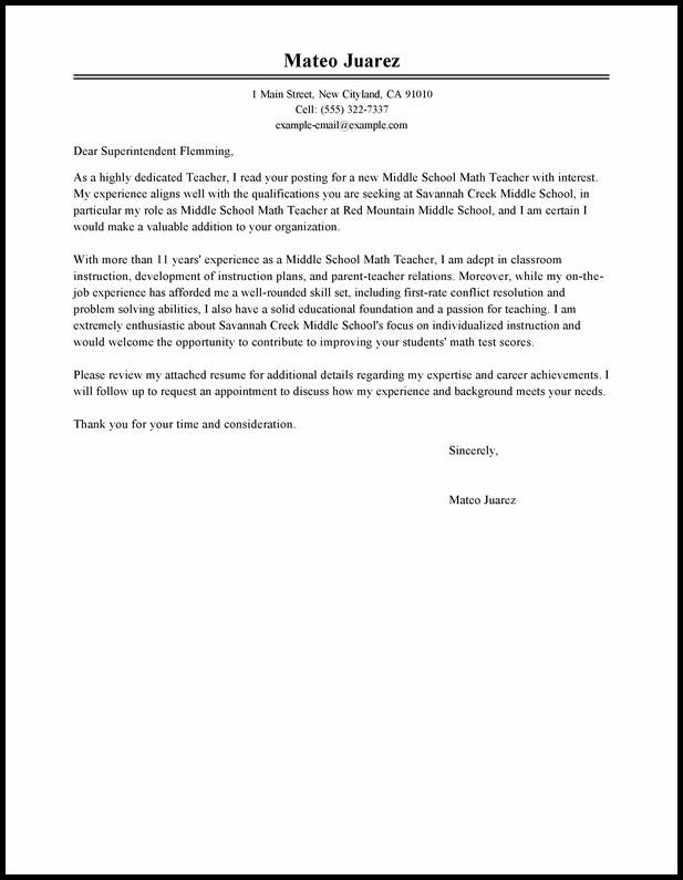 Resume Cover Letter Template For Teachers