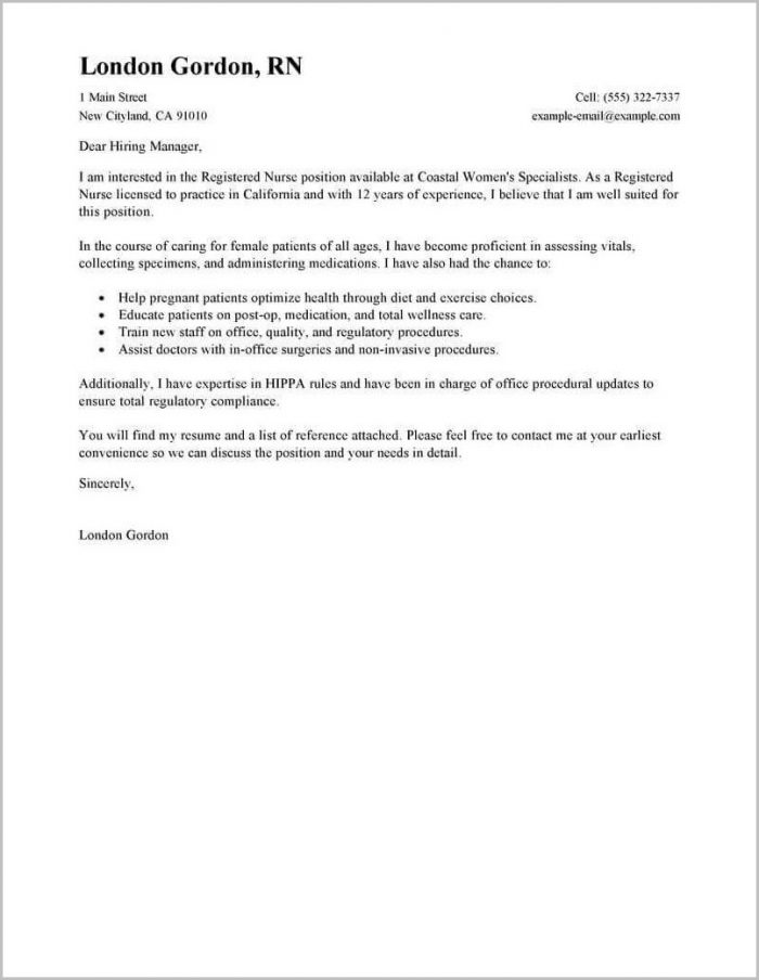 Rn Sample Resume And Cover Letter