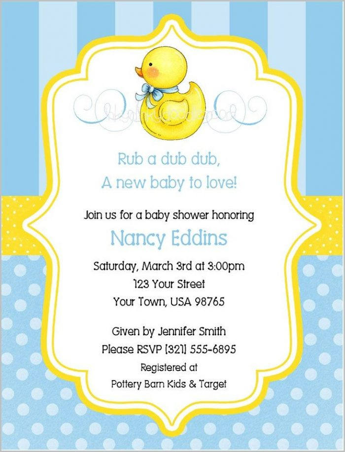 Rubber Duck Baby Shower Invitation Template