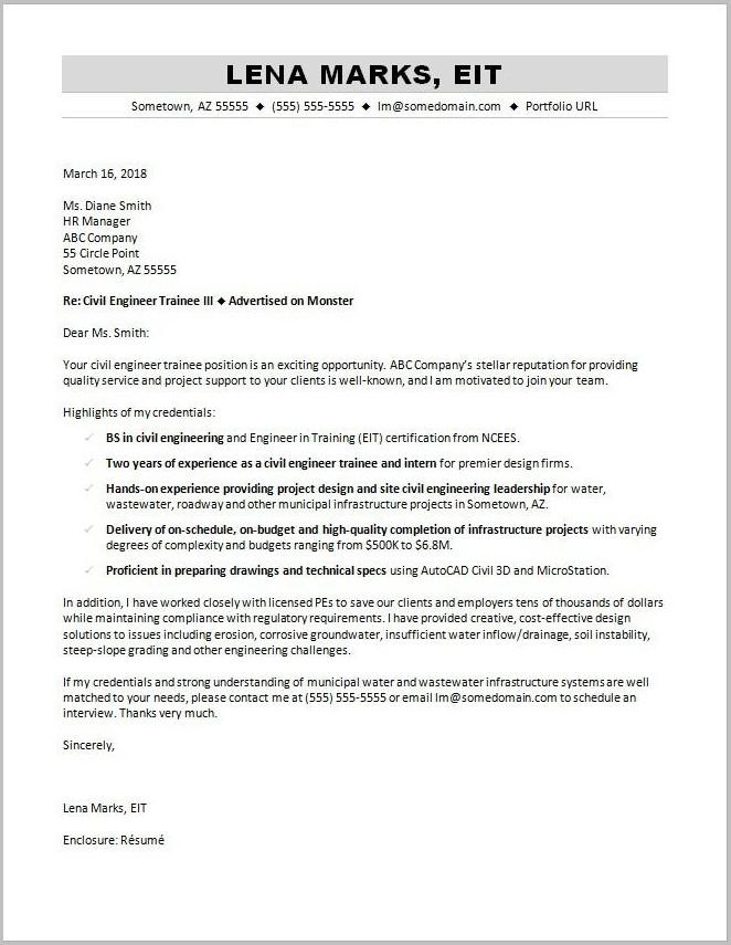 Sample Cover Letter For Resume Civil Engineer