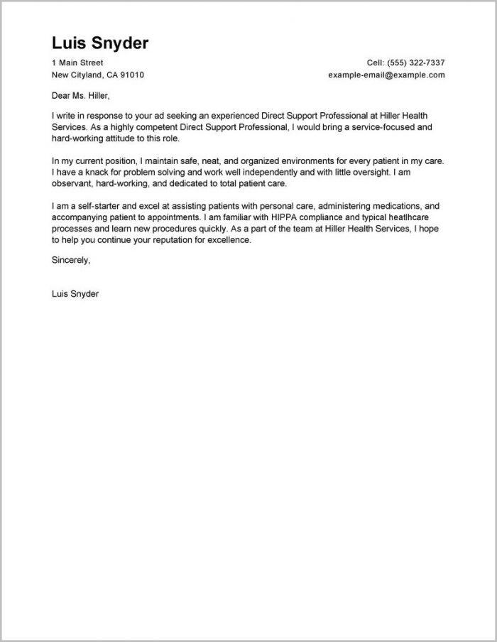 Sample Cover Letter For Resume Healthcare