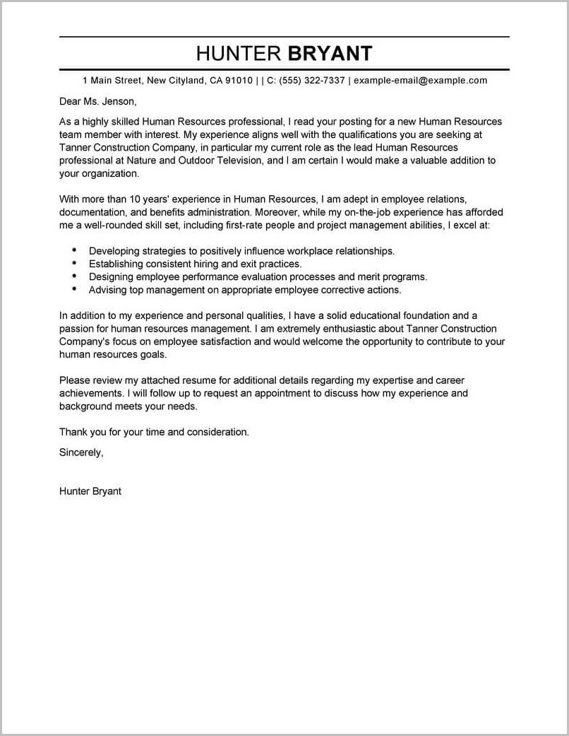 Sample Cover Letter For Resume Human Resources Manager