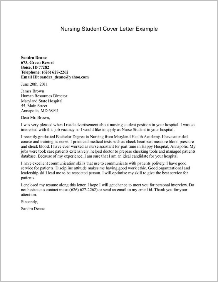 Sample Cover Letter For Resume Nursing Student