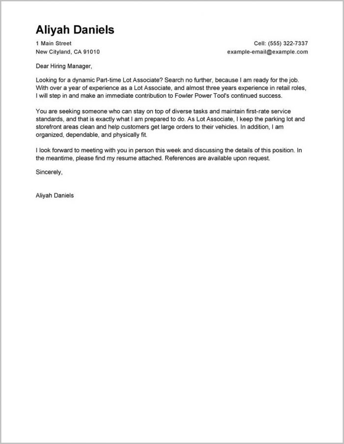 Sample Cover Letter For Resume Part Time Job