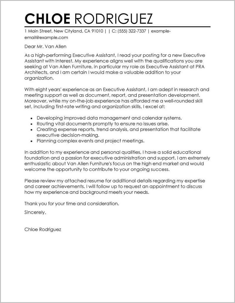 Sample Of Cover Letter For A Resume