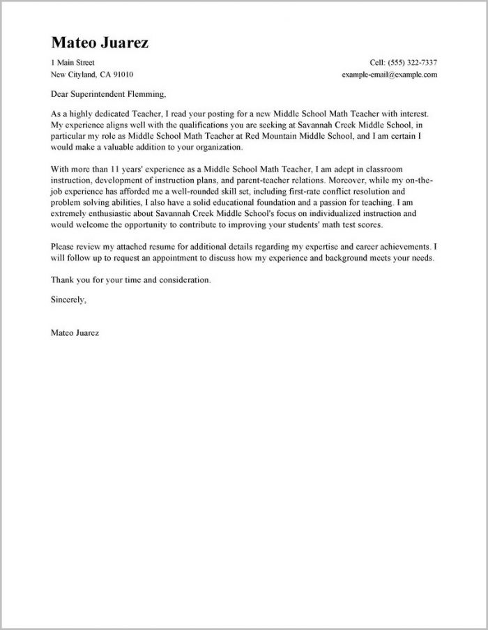 Sample Resume And Cover Letter For Teachers