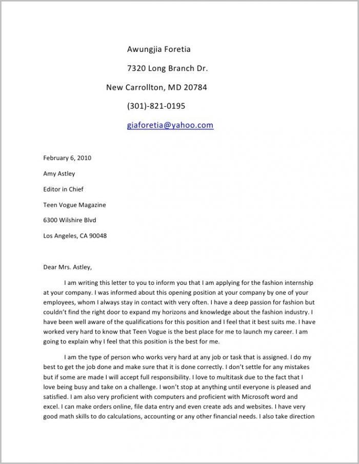 Sample Resume Cover Letter For Teenager