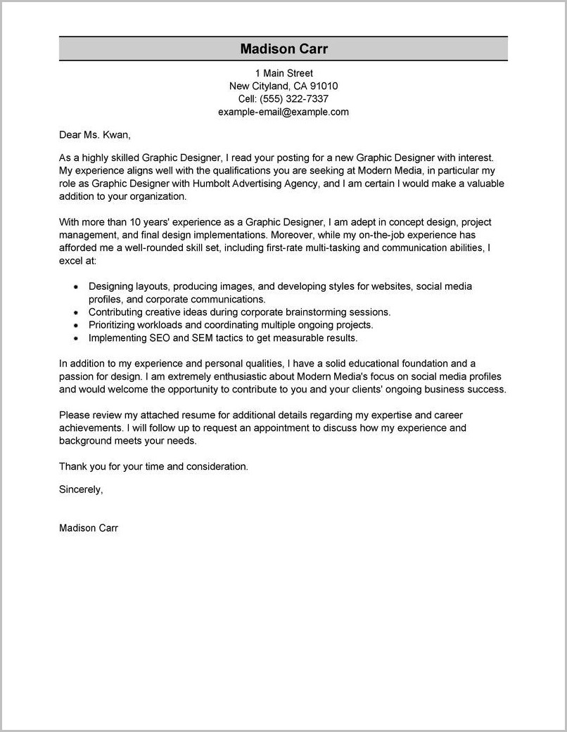Sample Resume Cover Letter Project Manager