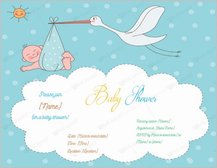 Stork Baby Shower Invitation Templates