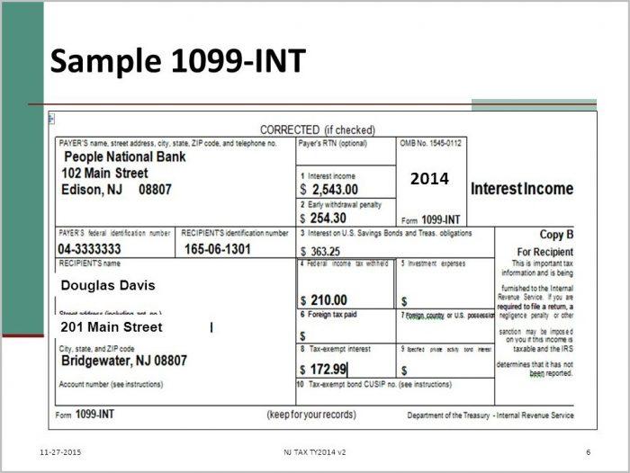 Tax Form 1099 Int