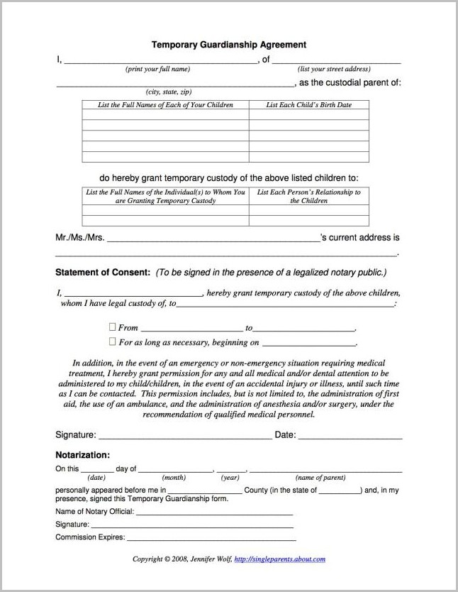 Temporary Guardianship Form Georgia