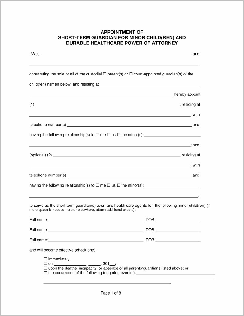 photo about Free Printable Temporary Guardianship Form named Short-term Guardianship Kind Michigan Type : Resume Illustrations