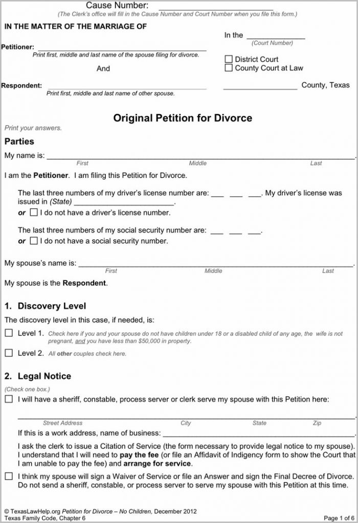 Texas Divorce Forms Without Child