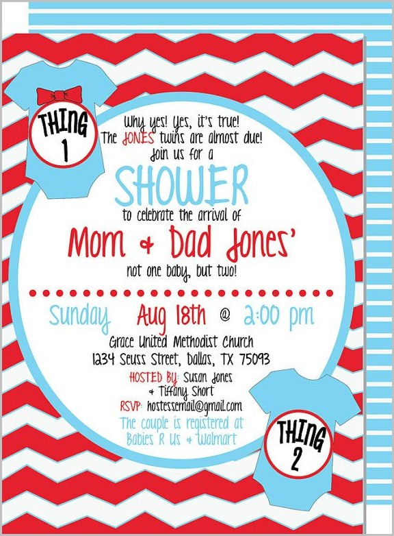 Thing 1 And Thing 2 Baby Shower Invitation Template