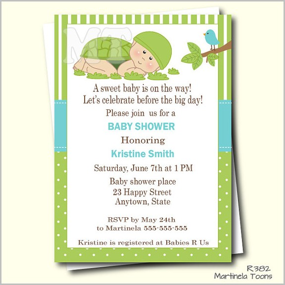 Turtle Baby Shower Invitation Templates