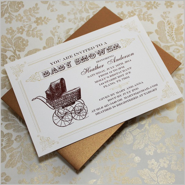 Vintage Baby Shower Invitation Templates