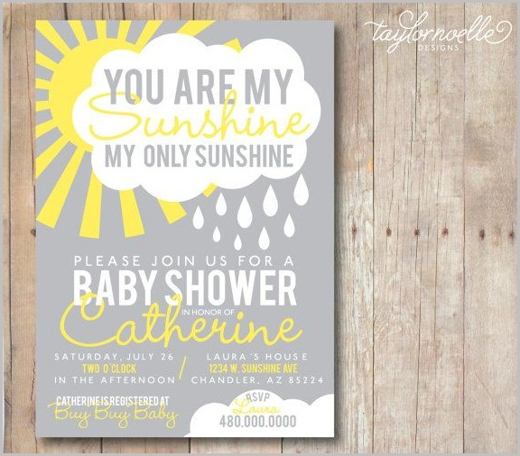You Are My Sunshine Baby Shower Invitation Template