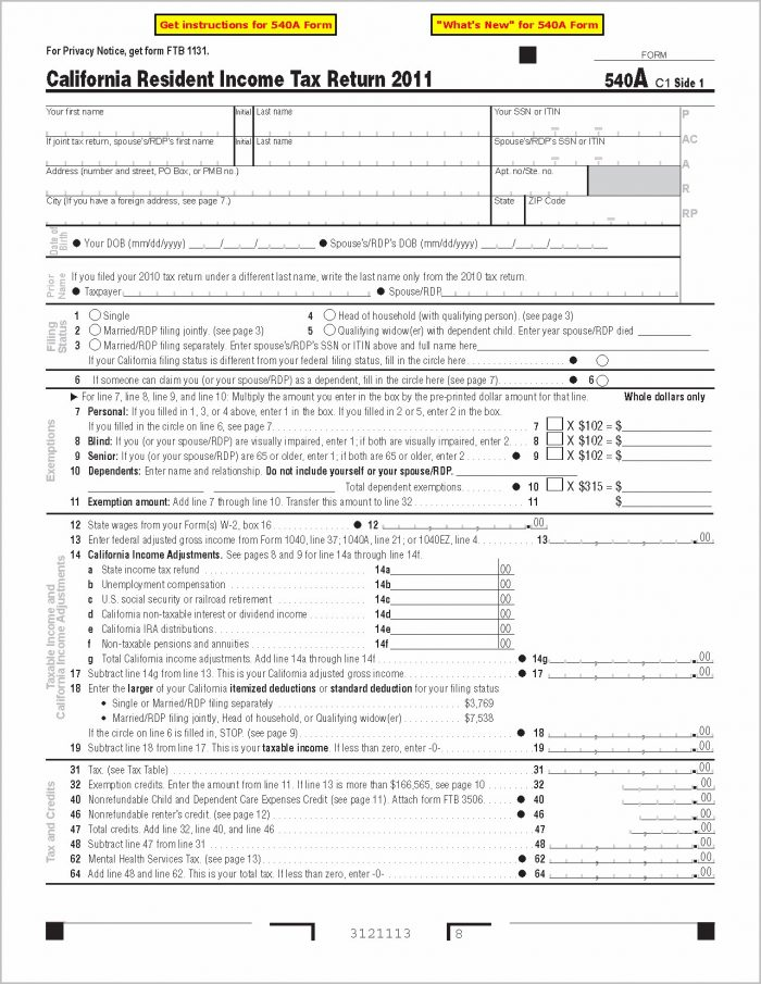 1040ez State Tax Form Califorcnia