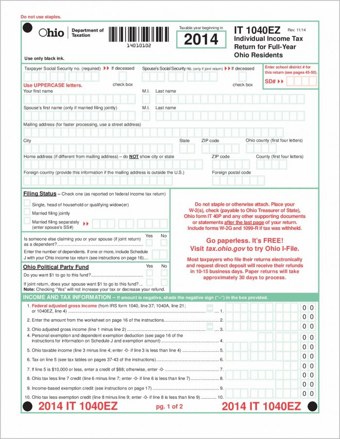 1040ez State Tax Form Ohio