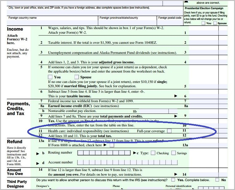 1040ez Tax Form Line 11