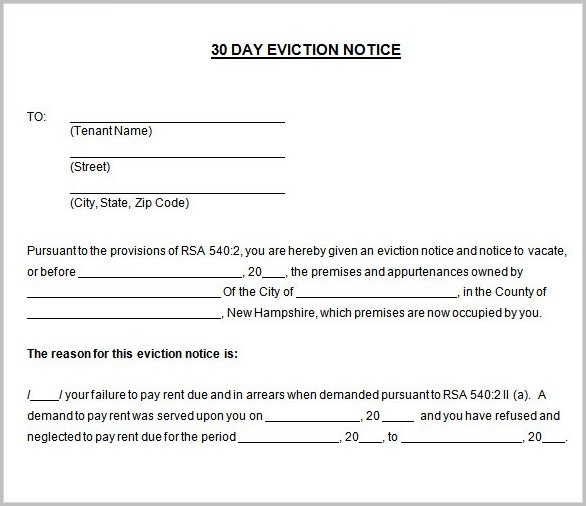 30 Day Notice Of Eviction Form