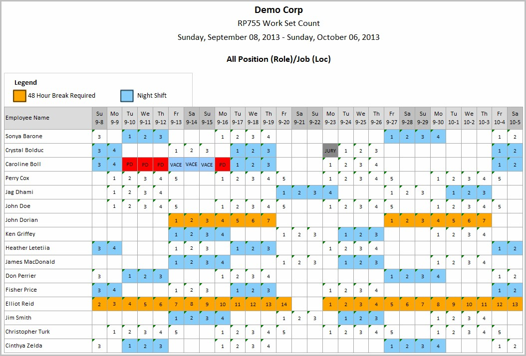8 Hour Work Schedule Template