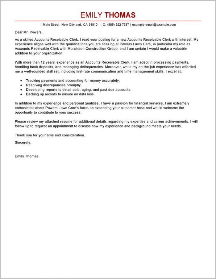 Accounts Payable Cover Letter Australia