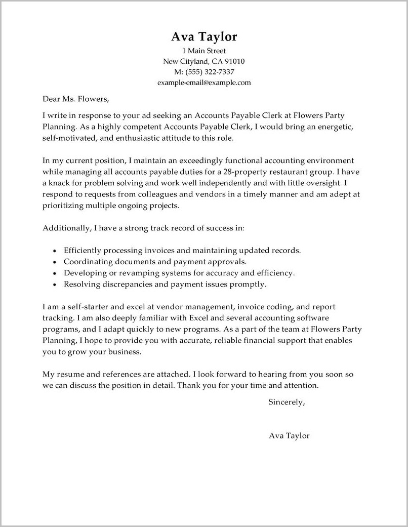 Accounts Payable Cover Letter Sample No Experience Cover Letter