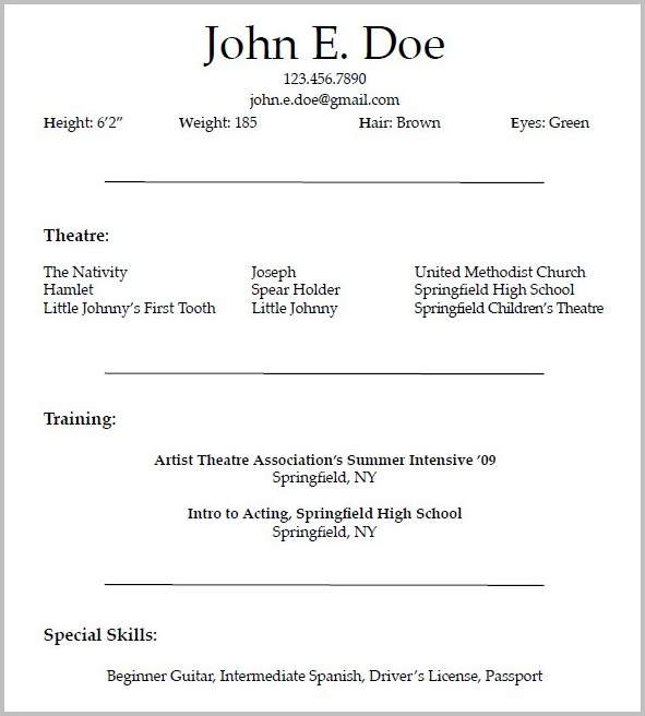 Acting Resume Templates For Microsoft Word