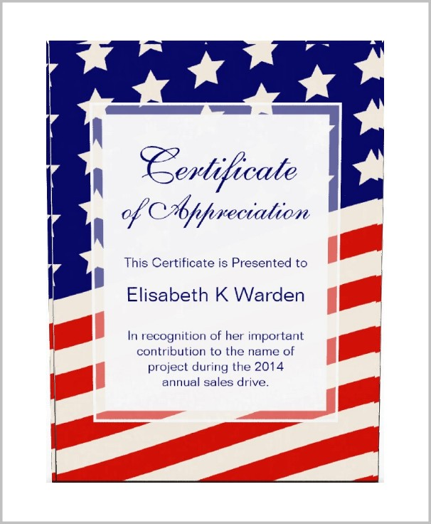 American Legion Certificate Of Appreciation Template