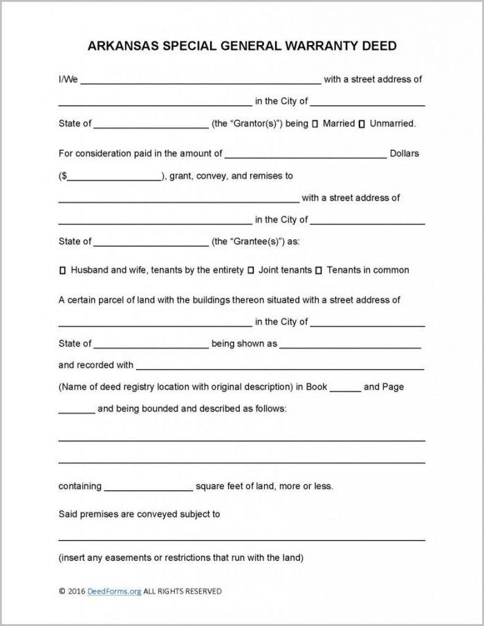 Arkansas Special Warranty Deed Form