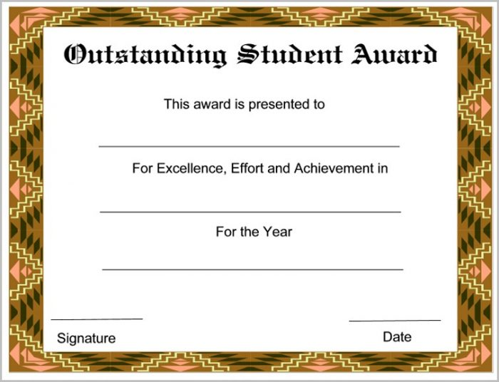 Award Certificate Template For Students