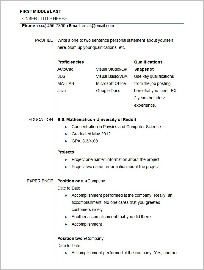Basic Resume Template For Students